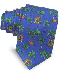Moschino - Blue Palms And Teddy Bears Printed Twill Silk Narrow Tie - Lyst