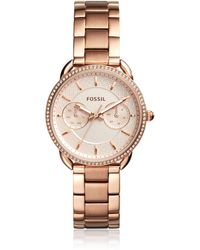Fossil - Tailor Multifunction Rose Gold-tone Stainless Steel Watch - Lyst