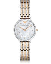 Emporio Armani - Kappa Two Tone Stainless Steel Women's Quartz Watch W/mother Of Pearl Dial - Lyst
