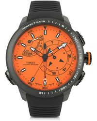 Timex - Yacht Racer Pro Black Stainless Steel Case And Silicone Strap Men's Chrono Watch - Lyst