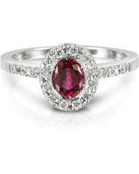 Forzieri | Ruby And Diamond 18k White Gold Ring | Lyst