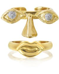 Bernard Delettrez - Face 9k Gold Midi Ring Two Pieces W/eyes/nose And Mouth - Lyst