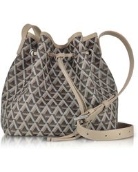 Lancaster Paris - Ikon Brown & Nude Coated Canvas And Leather Small Bucket Bag - Lyst