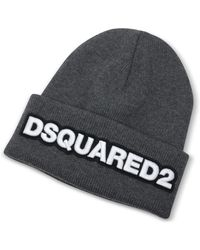 DSquared² - Embroidered Logo Anthracite Wool Beanie - Lyst