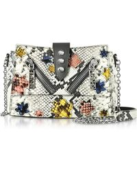 KENZO - Anthracite Gommato Leather Mini Kalifornia Handbag W/python Print Shoulder Strap - Lyst