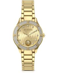 Versus - Canton Road Gold Tone Stainless Steel Women's Bracelet Watch W/crystals - Lyst