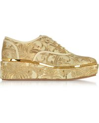 Tory Burch - Arden Beige And Gold Embroidered Brocade Platform Oxford Shoes - Lyst