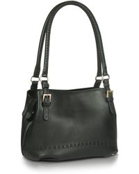 Fontanelli - Black Stiched Soft Leather Handbag - Lyst