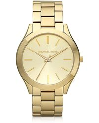 Michael Kors - Runway Slim Gold Tone Watch - Lyst