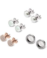 Emporio Armani - Set Of Three Stainless Steel And Crystals Women's Earrings - Lyst