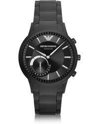 Emporio Armani - Connected Black Pvd Stainless Steel Hibrid Men's Smartwatch - Lyst