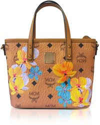 MCM Sac Shopping Flower Medium en Coton Enduit Cognac 92z8xv3hFt