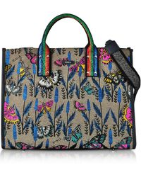 Furla - Canvas And Lurex Erica Large Tote Bag - Lyst