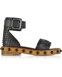 RED Valentino - Black Studded Leather Flat Sandals - Lyst