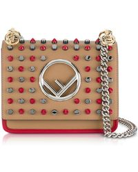 Fendi - Kan I F Small Sand And Red Leather Crossbody Bag W/studs - Lyst