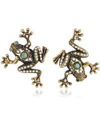 Alcozer & J - Frog Earrings W/crystals - Lyst