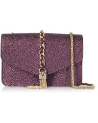 Valentino By Mario Valentino - Eco Crackled Metallic Leather Burlesque Small Shoulder Bag - Lyst
