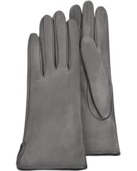 Forzieri | Women's Gray Calf Leather Gloves W/ Silk Lining | Lyst