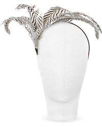 Nana' - Beverly - Black And White Feather Flower Headband - Lyst