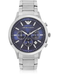 Emporio Armani - Men's Blue Dial Stainless Steel Chrono Watch - Lyst