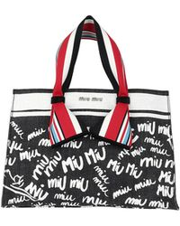 Miu Miu - Denim Logo Shopping Bag Nero/bianco - Lyst