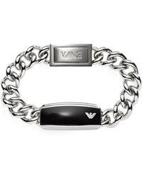 Emporio Armani - Silver Tone Stainless Steel Men's Bracelet - Lyst
