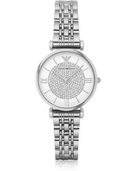 Emporio Armani - T-bar Silvertone Stainless Steel Women's Watch W/crystals Dial - Lyst
