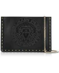Balmain | Domaine Black Smooth Leather Mini Pouch W/embossed Blazon | Lyst