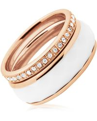 Fossil - Rose Gold Pvd Stainless Steel And White Enamel Classics Women's Ring W/strass - Lyst