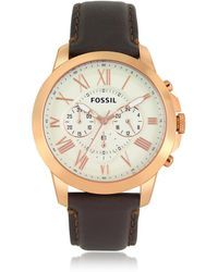 Fossil - Grant Chronograph Gold Tone Stainless Steel Case And Brown Leather Strap Men's Watch - Lyst