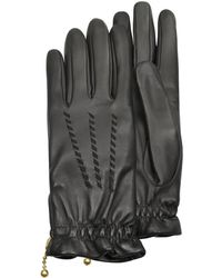 FORZIERI - Women's Embroidered Black Calf Leather Gloves - Lyst