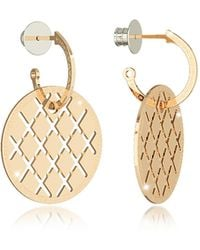 Rebecca - Melrose Yellow Gold Over Bronze Drop Hoop Earrings - Lyst