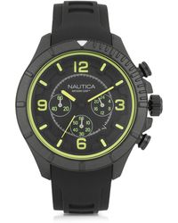 Nautica - Nsr 103 Tide Compass Black Stainless Steel Case And Rubber Strap Men's Watch - Lyst
