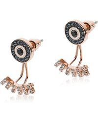 Emporio Armani - Rose Gold Stainless Steel And Crystals Fashion Women's Earrings - Lyst