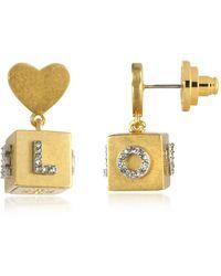 Tory Burch - Love Message Cube Drop Earrings - Lyst
