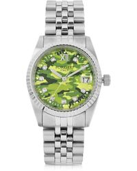 FORZIERI - Trevi Silver Tone Stainless Steel Women's Watch W/green Camo Dial - Lyst