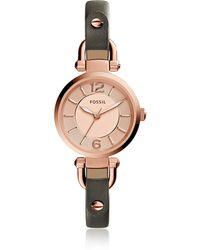 Fossil - Georgia Mini Grey Leather Women's Watch - Lyst