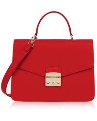 Furla - Ruby Lizard Printed Leather Metropolis Medium Top Handle Satchel Bag - Lyst