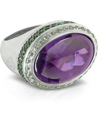 Azhar - Cubic Zirconia Sterling Silver Oval Cocktail Ring - Lyst
