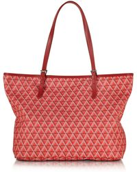 Lancaster Paris - Ikon Printed Coated Canvas And Leather Tote - Lyst