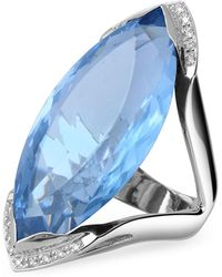 FORZIERI - Blue Topaz And Diamond White Gold Fashion Ring - Lyst