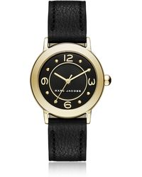 Marc Jacobs - Riley Gold Tone And Black Leather Bracelet Women's Watch - Lyst