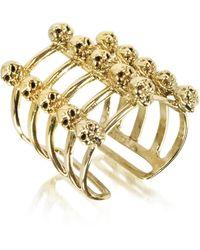 Bernard Delettrez - Cage And Skulls Bronze Ring - Lyst