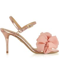 Charlotte Olympia - Reia Rose Gold Metallic Leather And Pink Organza Heel Sandals - Lyst