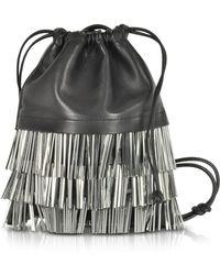 Alexander Wang - Ryan Mini Black Smooth Leather Dust Bag W/bugle Beads - Lyst