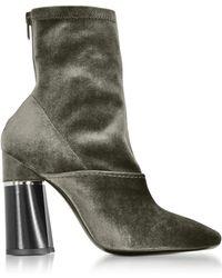 3.1 Phillip Lim - Kyoto Olive Velvet Stretch High Heel Ankle Boots - Lyst