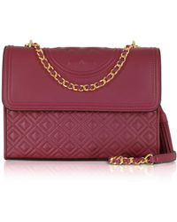 Tory Burch - Fleming Imperial Garnet Leather Convertible Shoulder Bag - Lyst