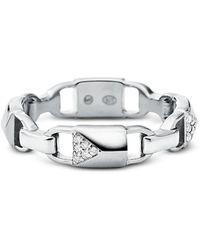 Michael Kors - Plated Sterling Silver Pavé Mercer Link Ring - Lyst
