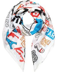 KENZO - Signature Eye Printed Silk Square Scarf - Lyst