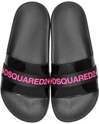 7c9fcbde499 DSquared² - Black And Neon Pink Tape Women s Flip Flop Pool Sandals - Lyst